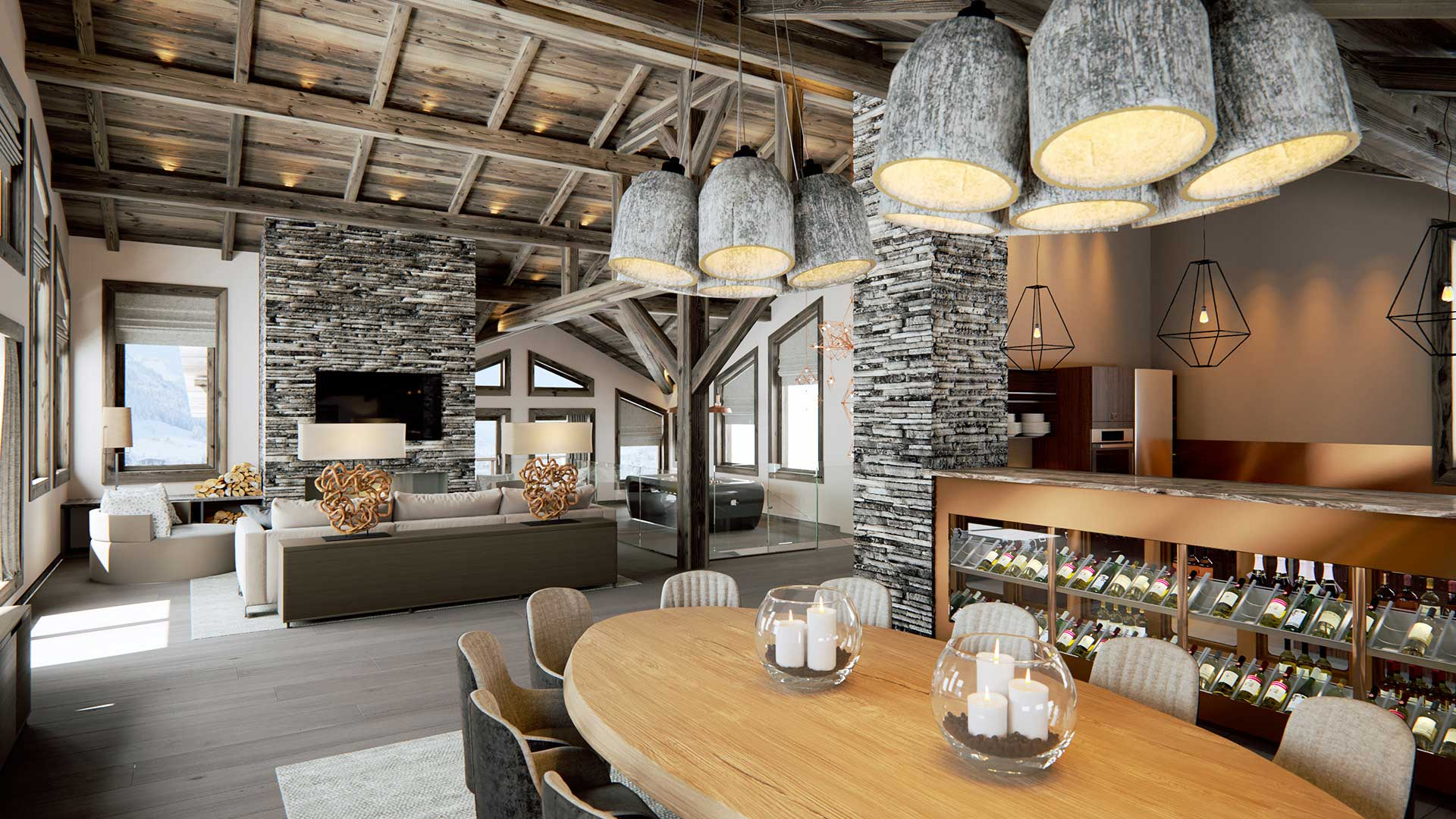 Infographie 3d rendu image de synth se salle de repas - Chalet de montagne luxe rkd architecte ...