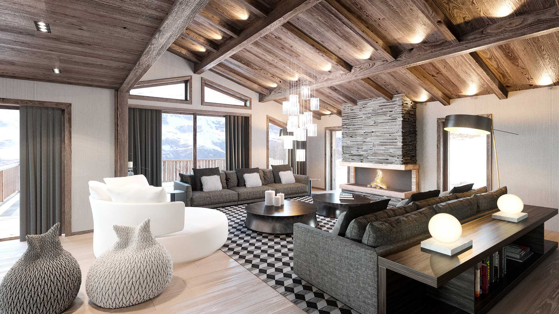 3d creation of a luxurious chalet 3d french studio. Black Bedroom Furniture Sets. Home Design Ideas