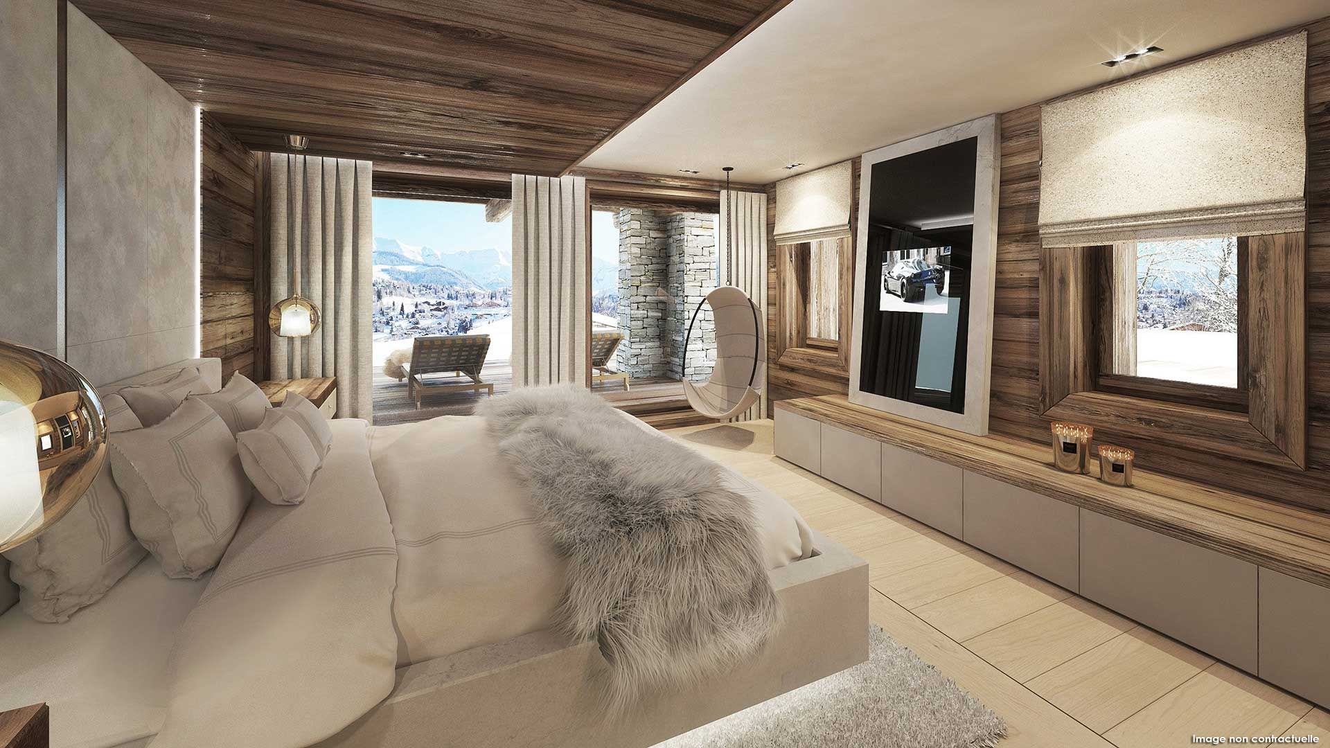 Agence 3D perspective project luxury chalet mountain