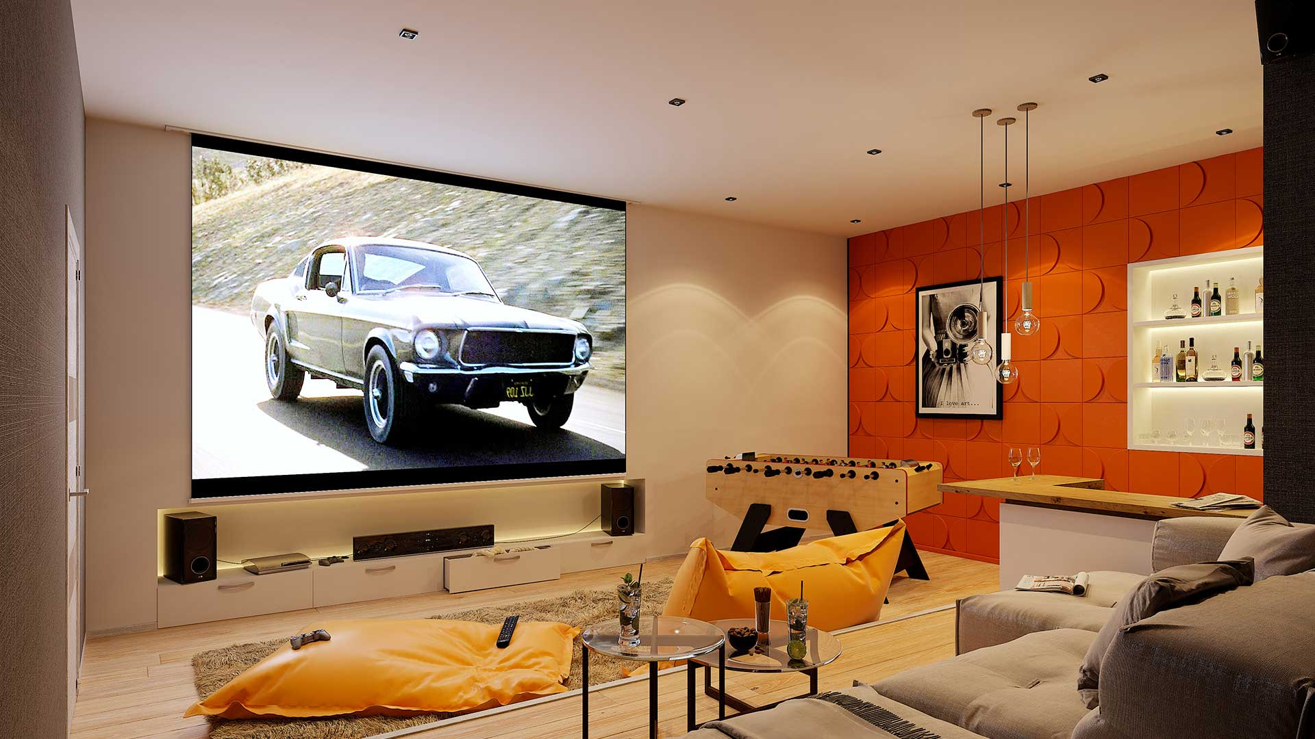 3D Creative studio : renderings Home Cinema for a luxurious villa