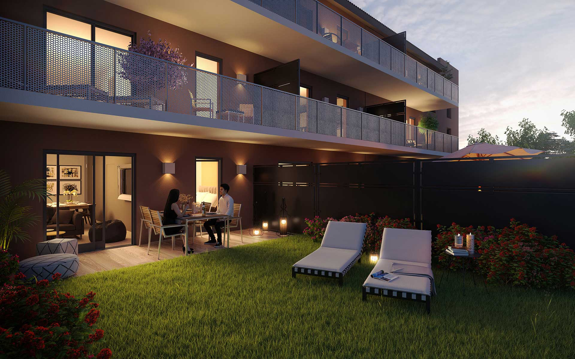 3D Perspective Of A Building And A Night Garden   Real Estate Promotion.