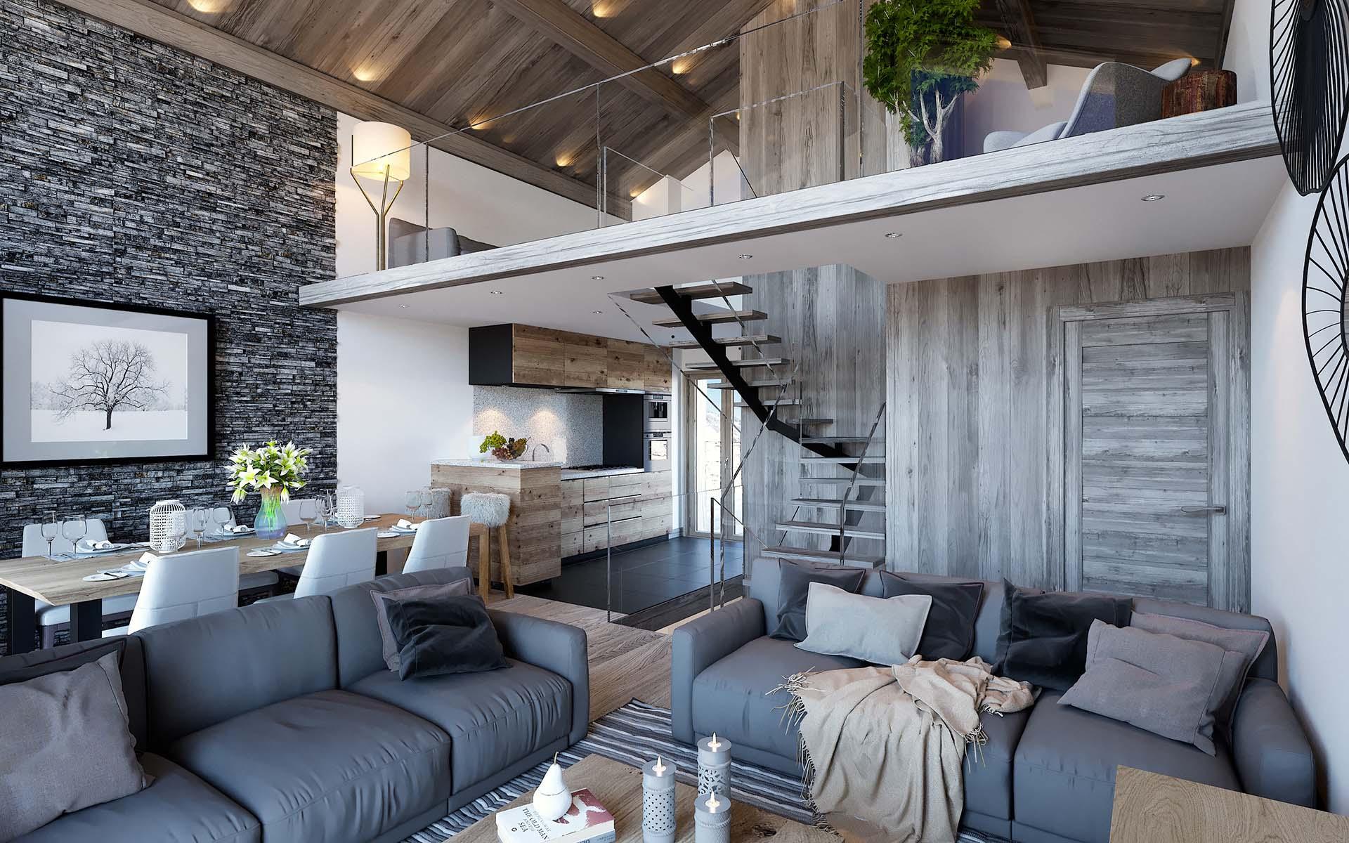 3d perspective apartment luxury chamonix 3d studio - Appartement de luxe ando studio ...