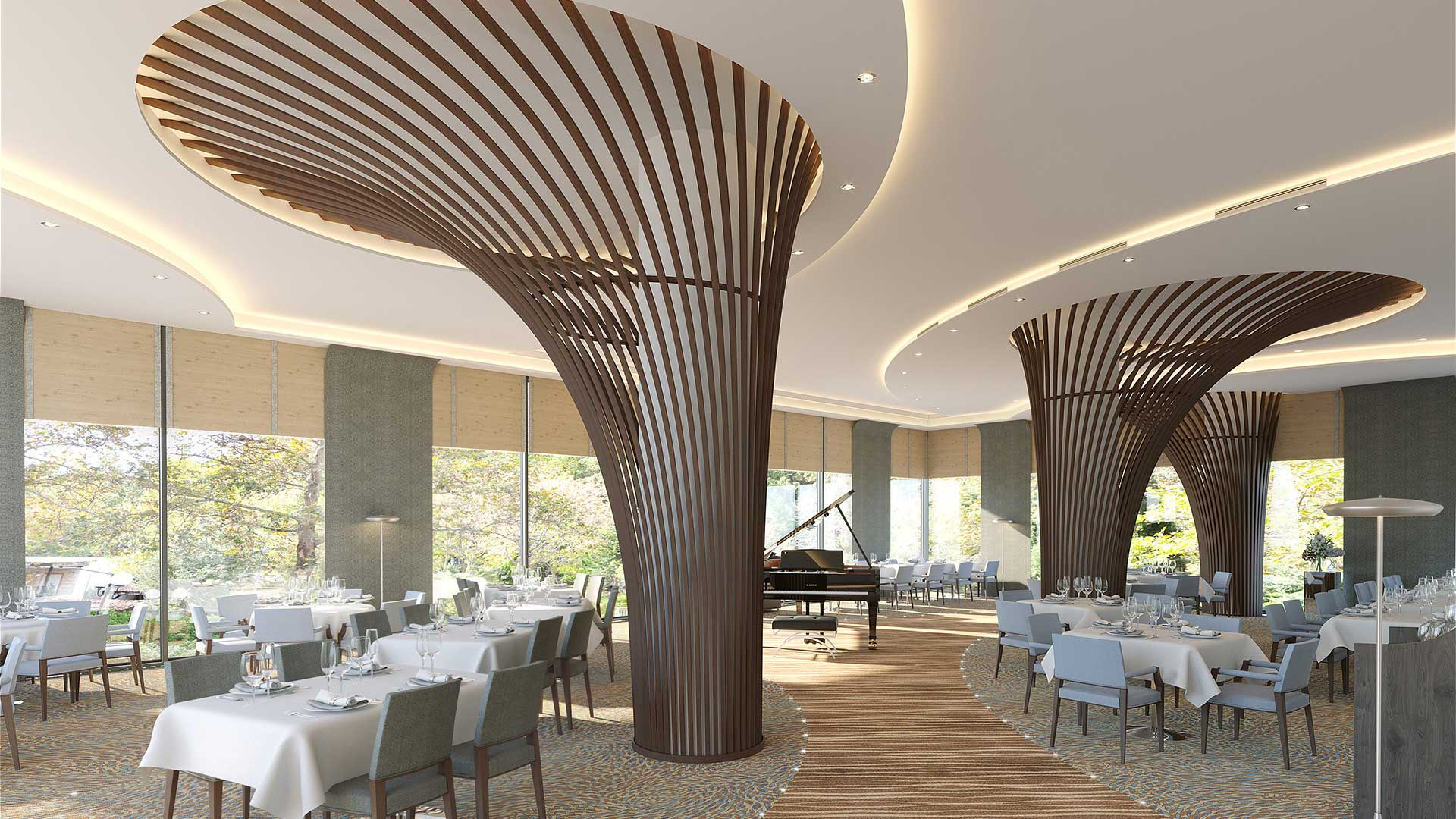 Creation Of 3D Photos Of The Interior Of A Restaurant Created By  Professional Computer Graphics Designers