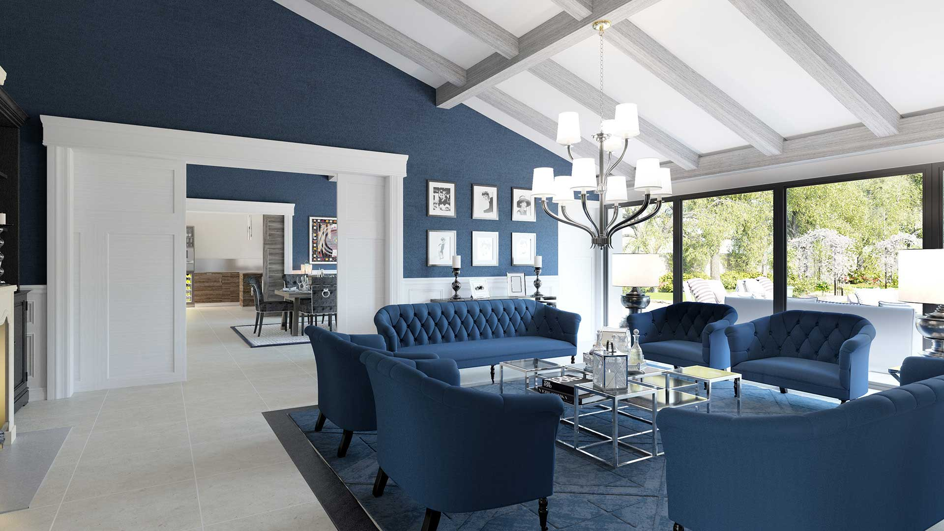 Perspective D Une Villa : Infographiste d création de rendus salon villa luxe