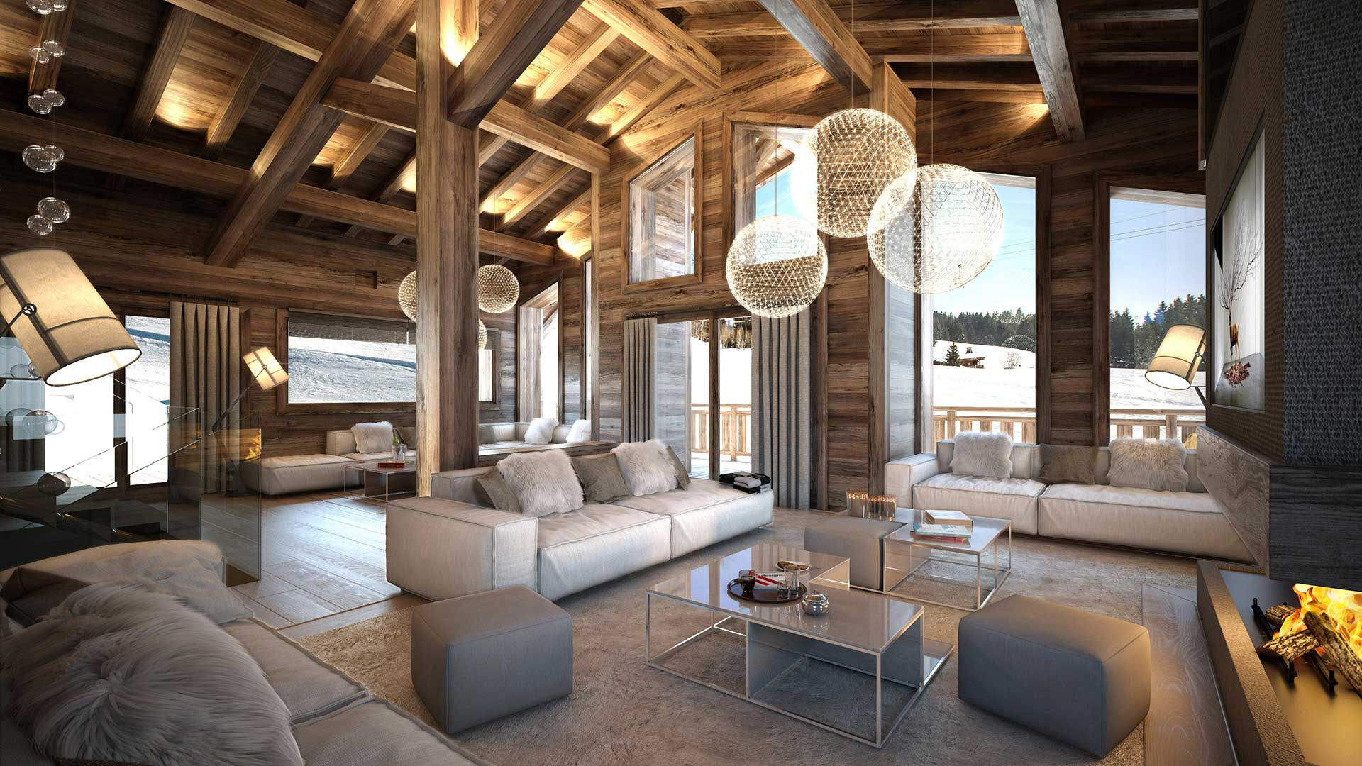 Perspective Of The Living Room Of A Luxurious Chalet In Combloux Made From  Computer Generated Images