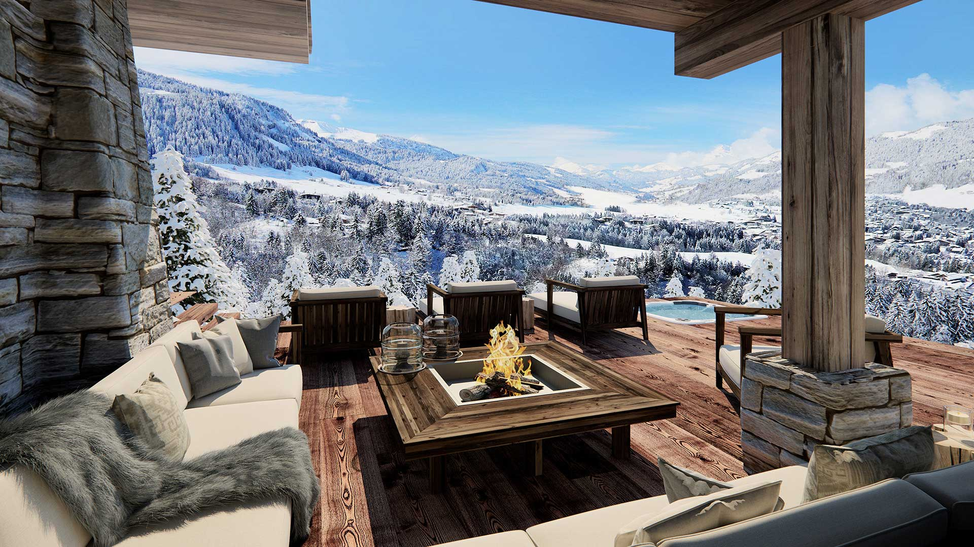 cr ation 3d d 39 une terrasse d 39 un chalet de luxe la montagne. Black Bedroom Furniture Sets. Home Design Ideas