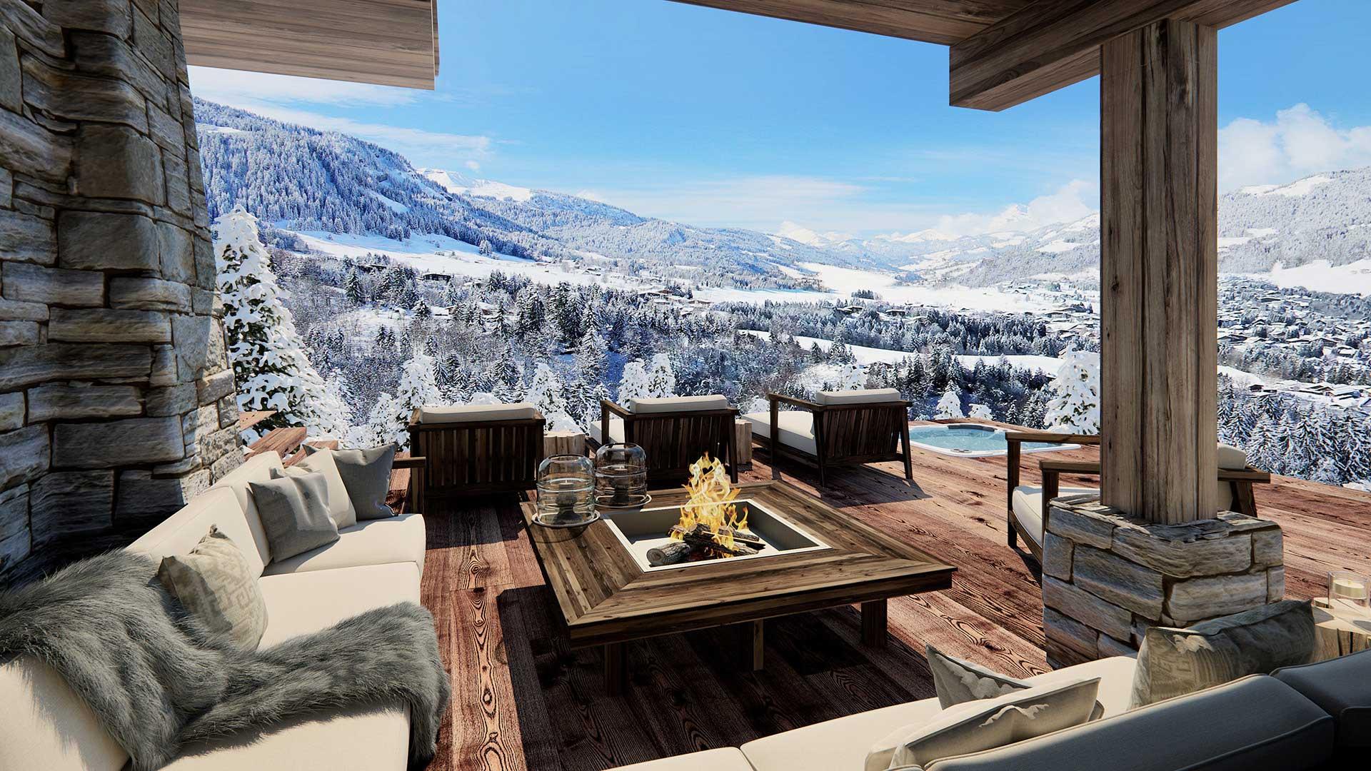 Création 3D d\'une terrasse d\'un chalet de luxe à la montagne