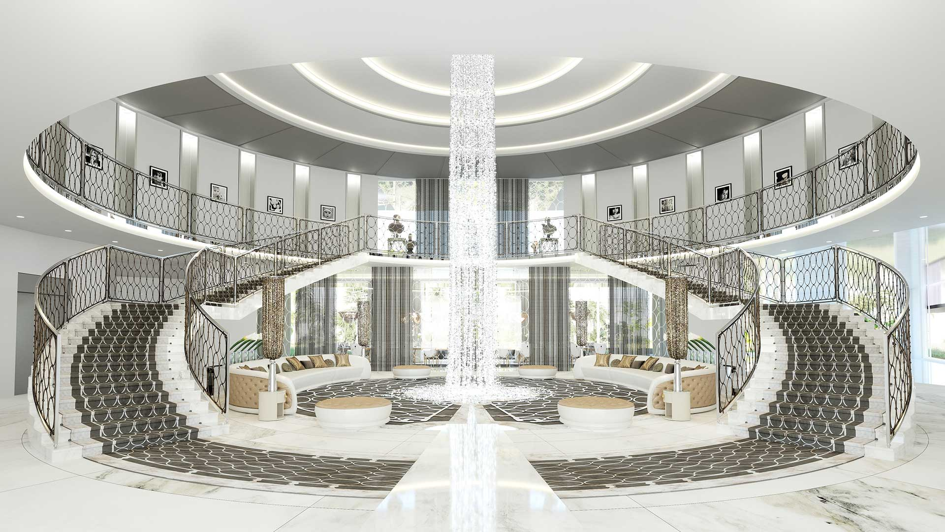 Creative studio producing 3D renderings : ultra luxurious villa entrance