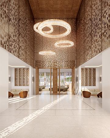 Production graphique 3D d'une entrée de villa au Maroc