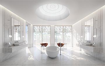 Rendu 3D d'une salle de bain dans une villa de luxe
