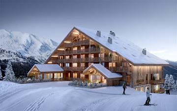Perspective 3D d'un chalet hôtel à Megève dans un paysage enneigé