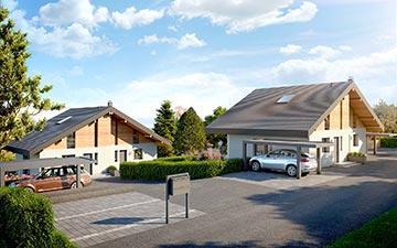 Perspective extérieure 3D d'un logement pour sa promotion immobilière