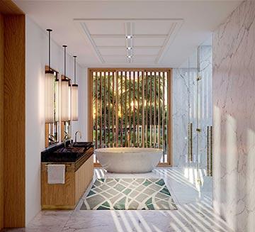 Photo 3D d'une salle de bain dans une villa de luxe au Maroc