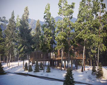 Image 3D dans une forêt enneigée d'un projet architectural de cabanes