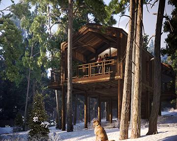 Perspective 3D représentant une cabanes dans un paysage de forêt enneigée