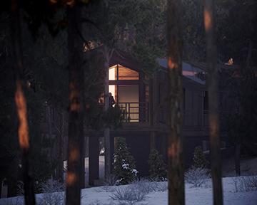 Visualisation 3D nocturne de cabanes en forêt par Valentinstudio