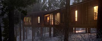 Visualisation 3D de nuit représentant un projet de cabanes de prestige