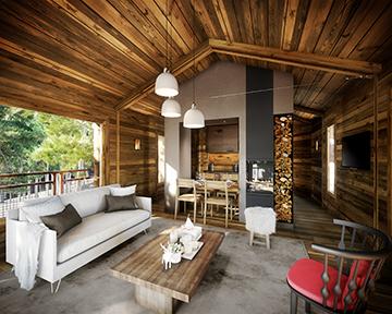 Vue 3D de l'intérieur d'une cabane de prestige en forêt