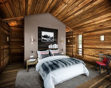 Image 3D d'une chambre dans une cabane pour un projet de luxe