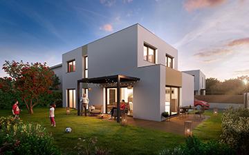 Perspective 3D d'un logement neuf avec personnages 3D au crépuscule