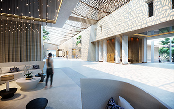 Perspective 3D d'un intérieur de palace à Cannes pour un concours d'architecture