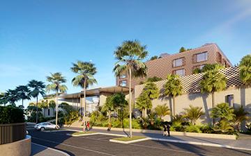 Perspective 3D de l'extérieur d'un palace à Cannes pour un concours
