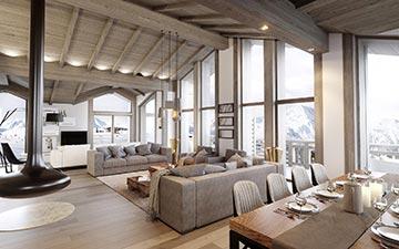 Perspective de l'intérieur d'un chalet luxueux avec vue sur la montagne