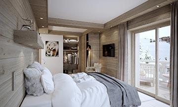 Photo 3D - Visualisation de chambre dans un chalet de luxe
