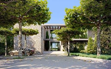 Rendu 3D extérieur d'une façade de villa pour un projet immobilier de luxe