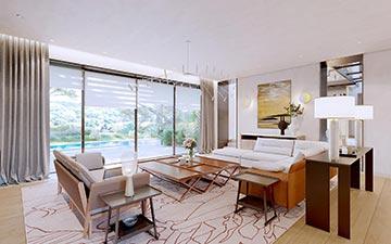 Image 3D de l'intérieur d'une villa moderne pour un projet immobilier