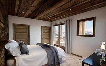 Rendu 3D d'une chambre dans un chalet de luxe en montagne