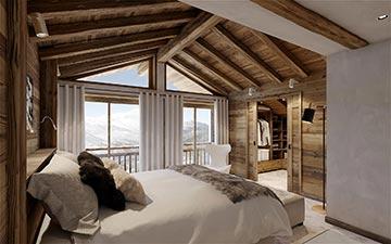 Réalisation d'une image 3D représentant une chambre dans un chalet de luxe à Chamonix