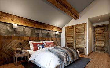 Image promotionnelle d'une chambre de chalet de luxe à Courchevel