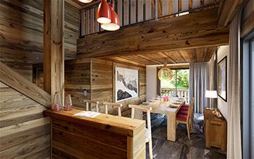 Production graphique 3D - Intérieur d'un appartement de montagne