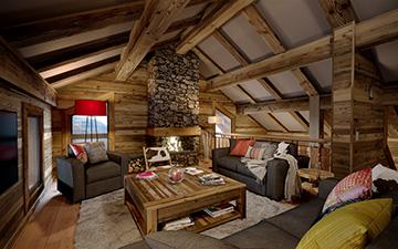 Création 3D de salon d'un appartement pour un projet immobilier de chalet - Chalet à Morzines