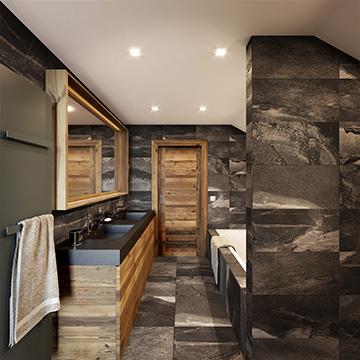 Rendu 3D de salle de bain pour un projet de chalet de luxe à Morzine
