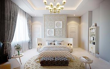 Perspective 3D d'une chambre de luxe dans une villa - projet immobilier