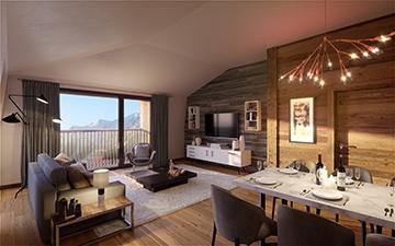 Rendu 3D d'un salon de luxe pour un appartement à Chamonix