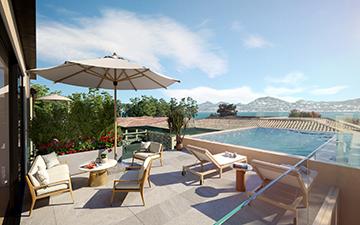 Rendu 3D d'une terrasse de villa avec piscine pour une promotion immobilière