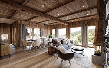 Rendu 3D de l'intérieur d'un chalet de luxe en Suisse