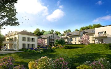 Image de synthèse 3D d'une résidence neuve, perspective projet immobilier