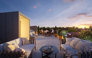 Image de terrasse en 3D pour la promotion immobilière d'un logement