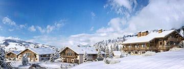 Représentation 3D d'un collecitf de chalets à Megève dans un paysage enneigé