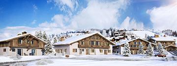 Visualisation 3D de chalets à Megève dans un paysage enneigé