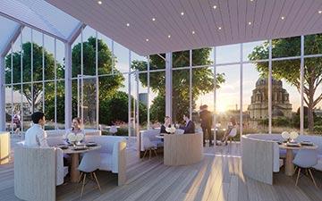 Perspective 3D d'un rooftop de luxe avec véranda