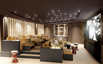 Perspective 3D d'un cinéma de luxe dans une villa à Hawaii - Valentinstudio