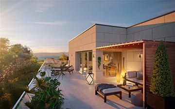 Promotion immobilière : Perspective 3D d'une terrasse de maison moderne
