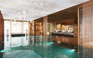 Vue 3D d'une piscine pour un projet de chalet de luxe à Méribel