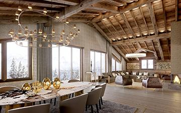 Rendu 3D d'un salon de chalet de luxe à Méribel - Studio d'architectes 3D Lyon