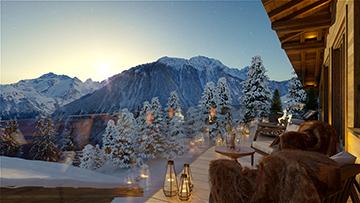 Vue 3D d'une terrasse de chalet de luxe avec vue sur les Alpes